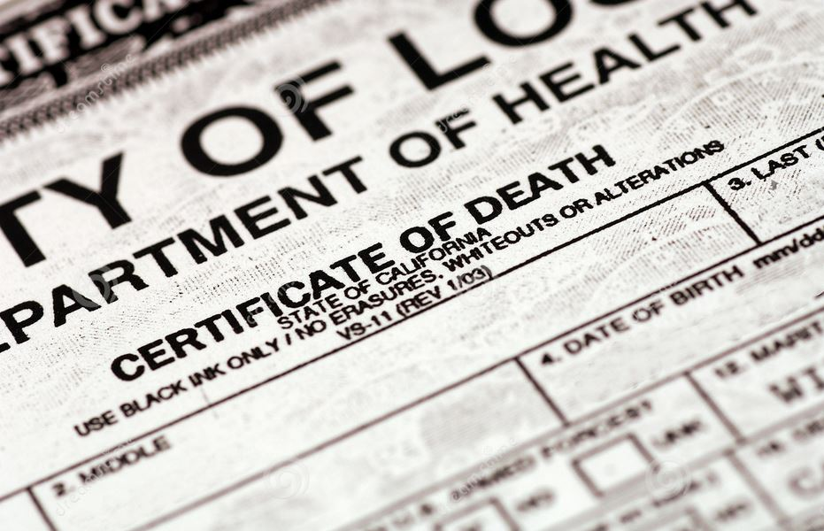 Death Certificate - Evelyn Jane Brock, 1974